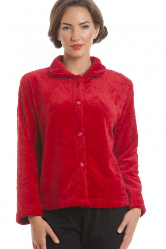 Luxury Supersoft Red Button Up Fleece Bed Jacket