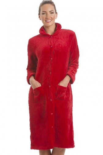 Luxury Supersoft Red Button Up Fleece Housecoat