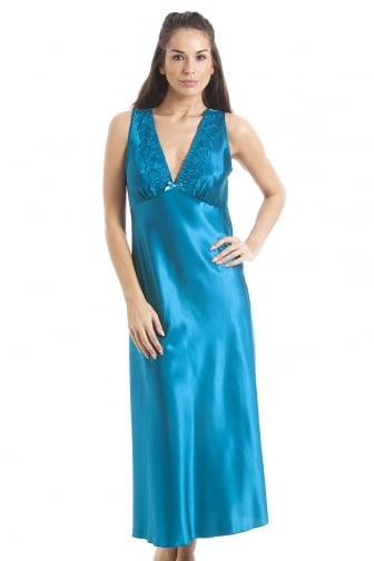 Luxury Teal Lace Satin Chemise