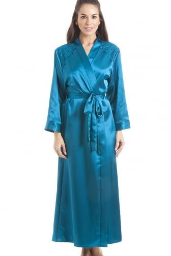 Luxury Teal Satin Long Length Dressing Gown Wrap