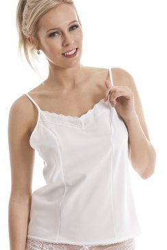 Luxury White Lace Trim Camisole Top