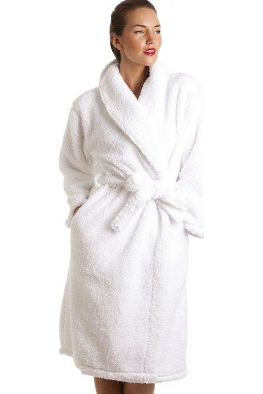 Womens Ladies Luxury White Super Soft Sheep Fleece Bath Robe Size 10-24