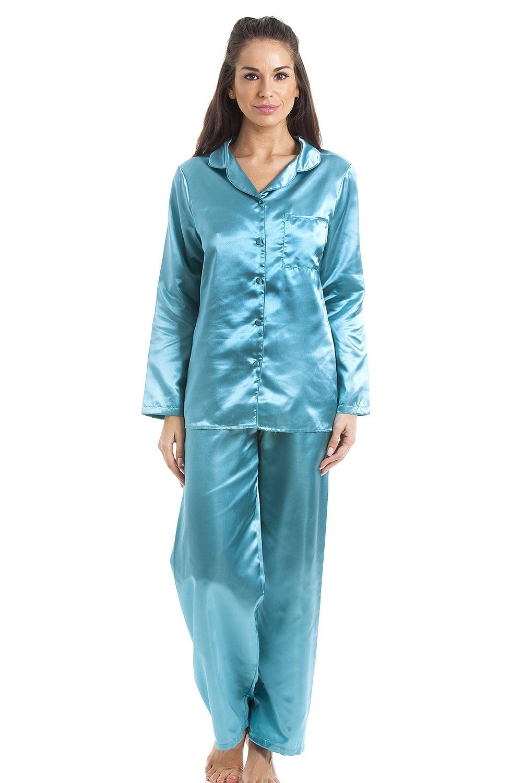 hot-selling latest sold worldwide wholesale sales Camille Marine Blue Satin Full Length Pyjama Set