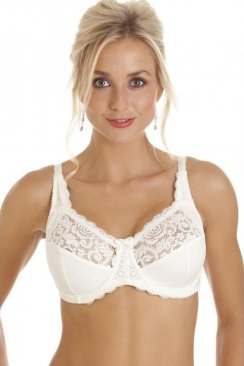 Melody Large Cup Floral Lace Underwired Ivory Bra