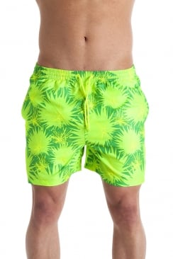 Men's Neon Green Patterned Swimming Shorts