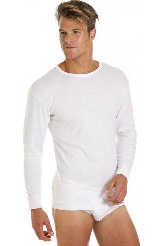 Mens 2 Pack White Long Sleeved Thermal Tops