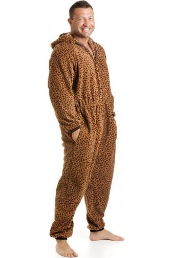 Mens All In One Caramel Leopard Print Fleece Hooded Pocketed Pyjama Onesie Size S-5XL