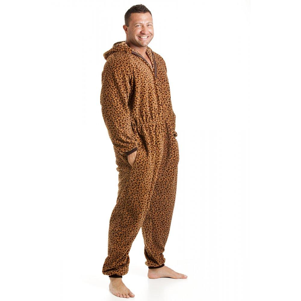 classic mens all in one caramel leopard print fleece hooded pyjama onesie size s xl. Black Bedroom Furniture Sets. Home Design Ideas