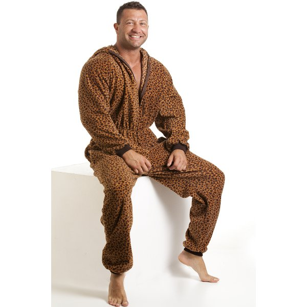 Classic mens all in one caramel leopard print fleece hooded pyjama onesie size s xl - Combinaison polaire homme ...