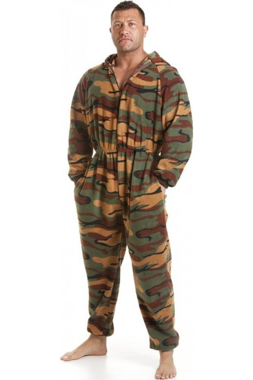 Mens All In One Green Camouflage Print Fleece Hooded Pocketed Pyjama Onesie Size S5XL