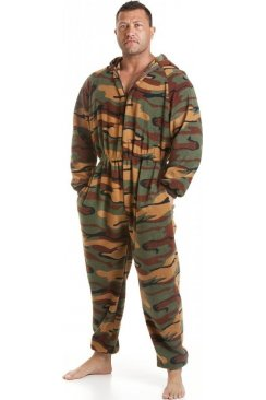 Mens All In One Green Camouflage Print Fleece Hooded Pocketed Pyjama Onesie Size S-5XL