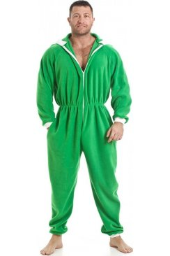 Mens All In One Green Fleece Hooded Pocketed Pyjama Onesie Size S-5XL
