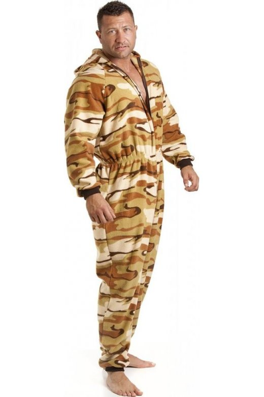 Mens All In One Sand Desert Print Fleece Hooded Pocketed Pyjama Onesie Size S5XL