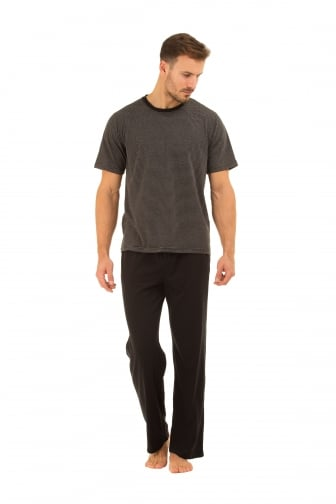 Mens Black Cotton Long Trouser & T-Shirt Pyjama Set