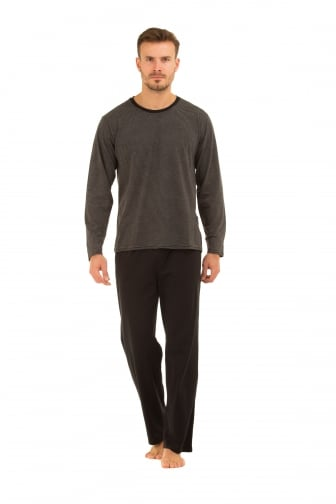 Mens Black Cotton Pyjama Set