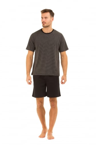 Mens Black Shorts & Striped T-Shirt Pyjama Set