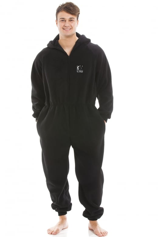 Mens Black Supersoft Fleece Zip Front Hooded Onesie