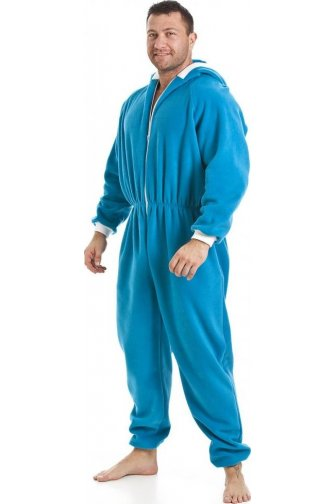 Mens Blue All In One Fleece Hooded Pocketed Pyjama Onesie Size S-5XL