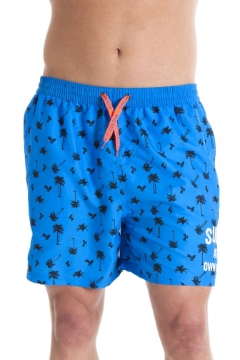 Mens Blue Surf at Own Risk Swmming Shorts