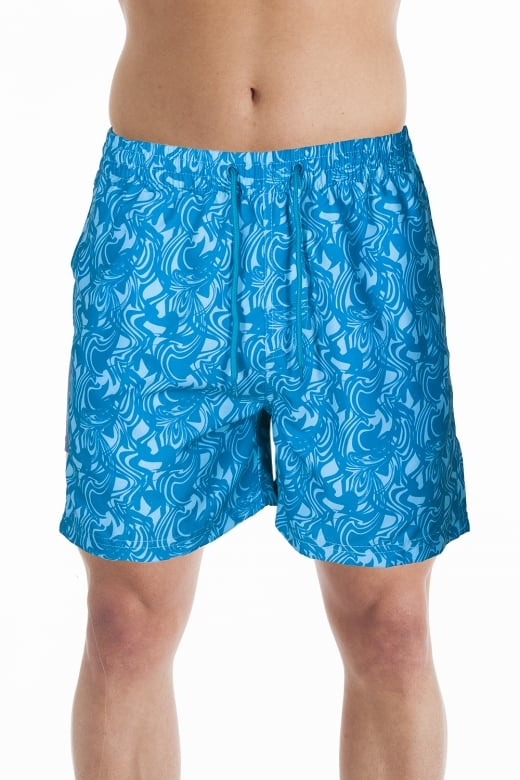 Mens Blue Swirl Design Swimming Shorts
