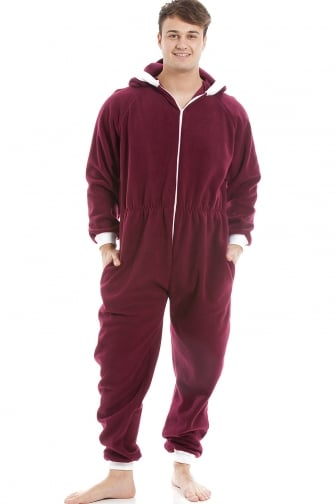 Mens Burgundy Red Supersoft Fleece Zip Front Hooded Onesie
