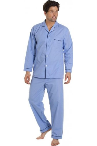 Mens Classic Style Blue Full Length Cotton Blend Pyjama Set