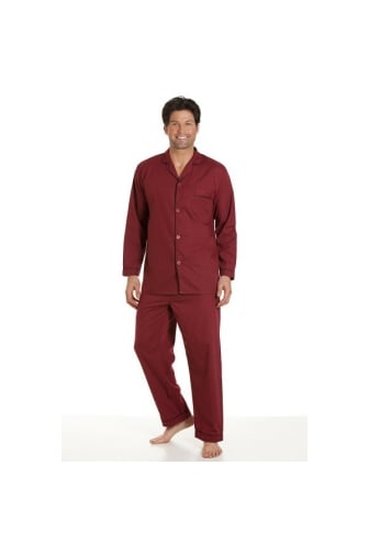 Mens Classic Style Burgundy Full Length Cotton Blend Pyjama Set