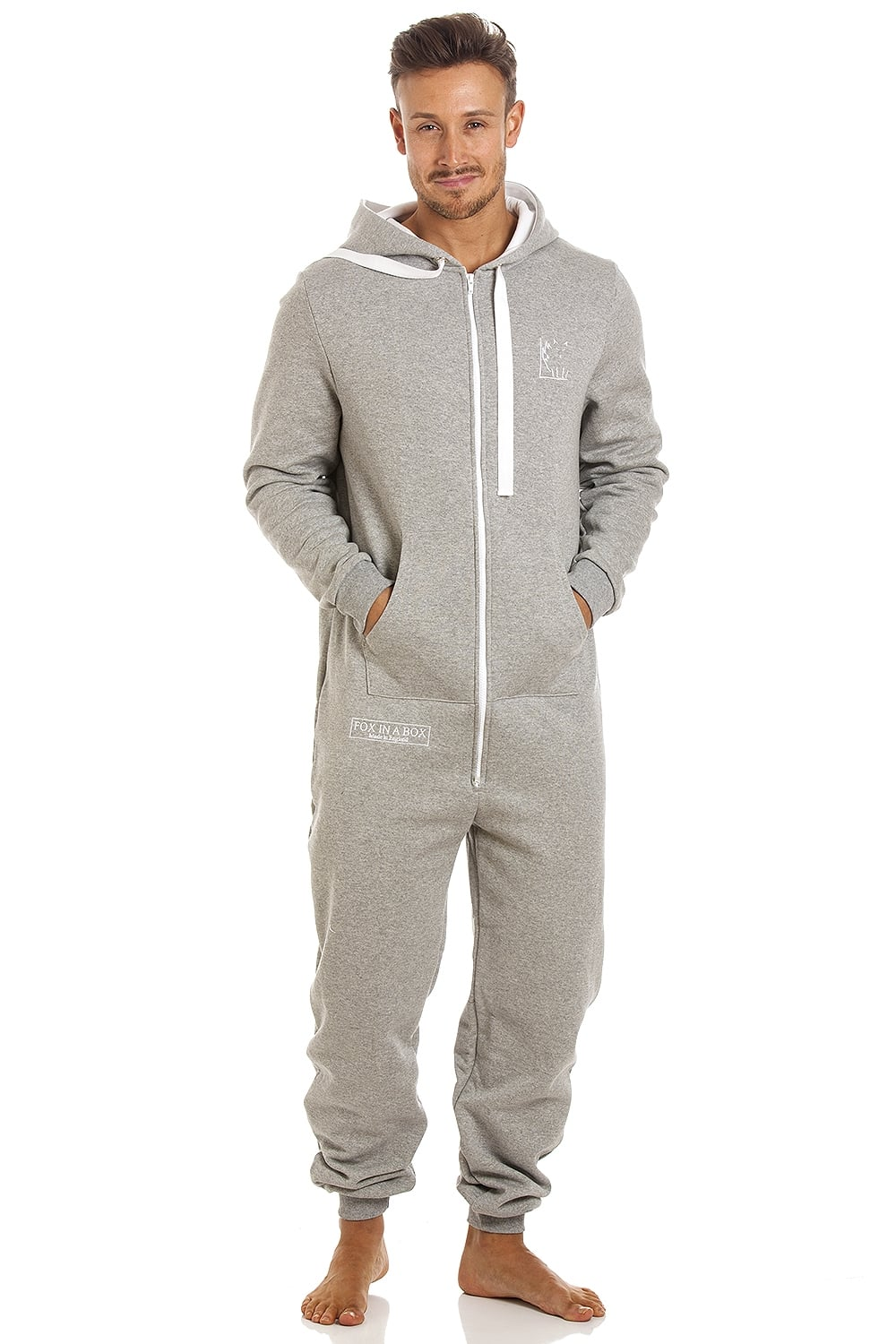 c56e6f23d633 Camille Mens Fox In A Box Unisex Grey Hooded Onesie Jumpsuit