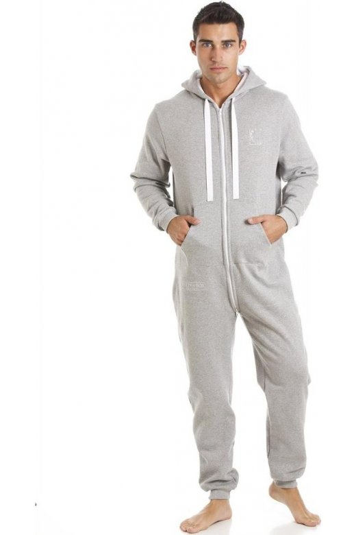 Mens Fox In A Box Unisex Grey Hooded Onesie Jumpsuit