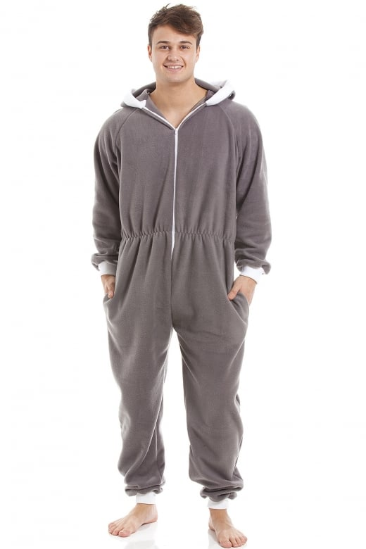 Camille Mens Grey Supersoft Fleece Zip Front Hooded Onesie