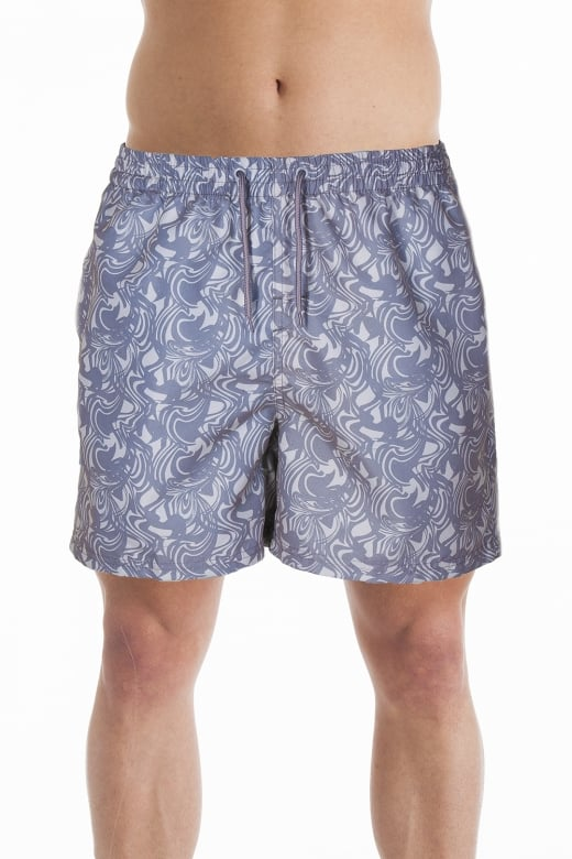 Mens Grey Swirl Design Swimming Shorts