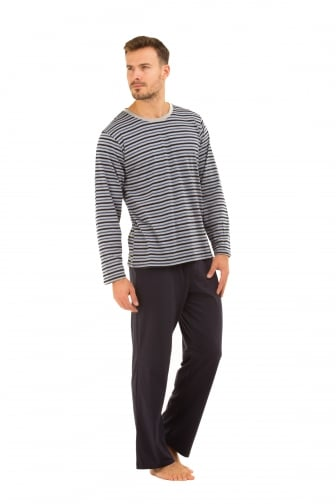 Mens Navy Cotton Pyjama Set