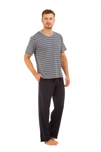 Mens Navy Long Trouser & Striped T-Shirt Pyjama Set