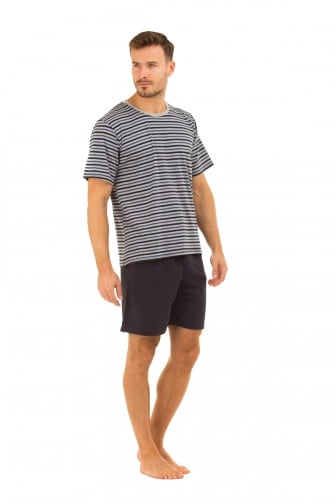 Mens Navy Shorts & Striped T-Shirt Pyjama Set