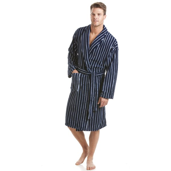 Mens Navy Stripe Cotton Trend Fleece Dressing Gown