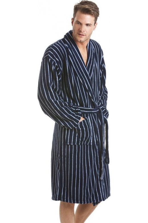Mens Navy Stripe Cotton Trend Fleece Dressing Gown
