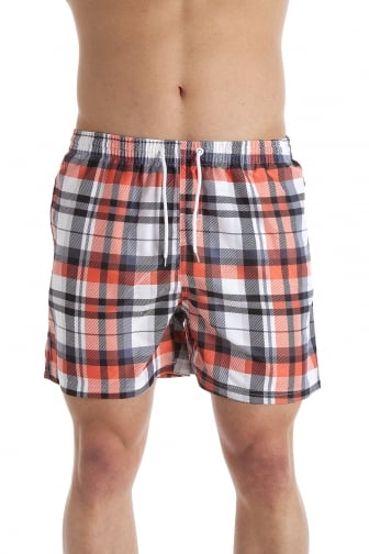 Mens Orange Check Print Swimming Shorts
