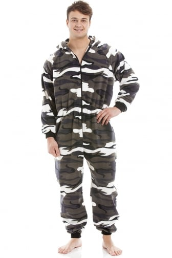 Mens Snow Camouflage Supersoft Fleece Zip Front Hooded Onesie