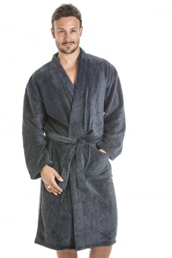 Mens Supersoft Fleece Grey And Black Bathrobe
