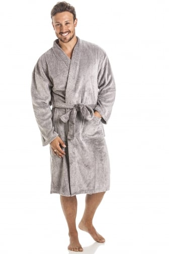 Mens Supersoft Fleece Grey Bathrobe