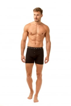 Mens Two Pack Button Front Cotton Stretch Black Boxer Shorts