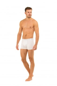 Mens Two Pack Cotton Stretch White Boxer Shorts