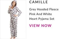 Grey Hooded Fleece Pink and white