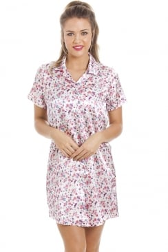 Multi-Coloured Floral Print Knee Length Ivory Satin Nightshirt