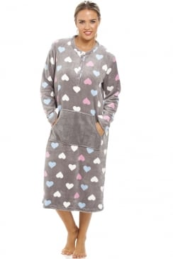 Multi Coloured Heart Print Supersoft Grey Lounger