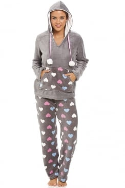 Multi Coloured Heart Print Supersoft Grey Pyjama Set