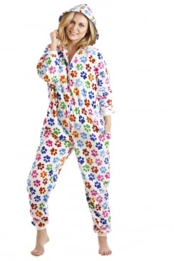 Multi-Coloured Paw Print White All In One Onesie Pyjama