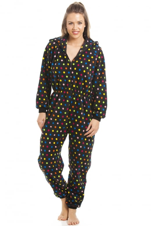 Camille Multi-Coloured Spot Print Hooded All In One Pyjama Onesie