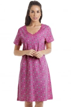 Multi-Coloured Star Print Fuchsia Pink Cotton Nightdress