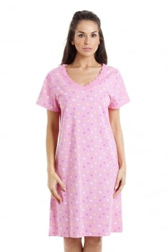 Multi-Coloured Star Print Light Pink Cotton Nightdress